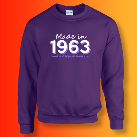 Made In 1963 and The Legend Lives On Sweater Purple