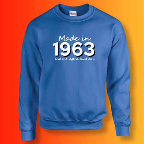 Made In 1963 and The Legend Lives On Sweater Royal Blue