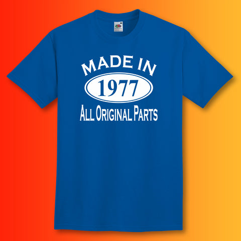 Made In 1977 T-Shirt Royal Blue