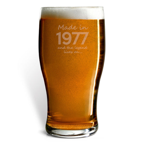 Made In 1977 and The Legend Lives On Beer Glass