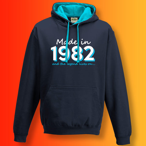 Made In 1982 and The Legend Lives On Unisex Contrast Hoodie