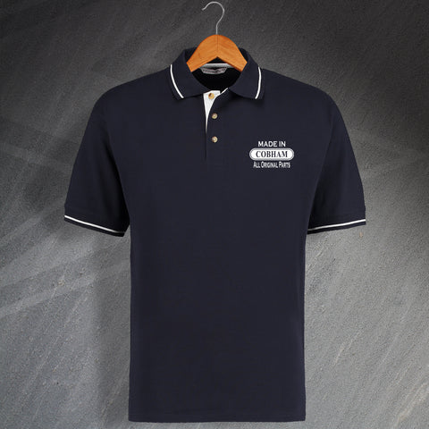 Made In Cobham All Original Parts Unisex Embroidered Contrast Polo Shirt