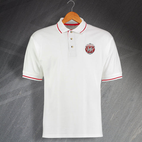 Retro Orient Embroidered Contrast Polo Shirt