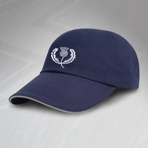 Retro Scotland Rugby Baseball Cap with Embroidered Badge