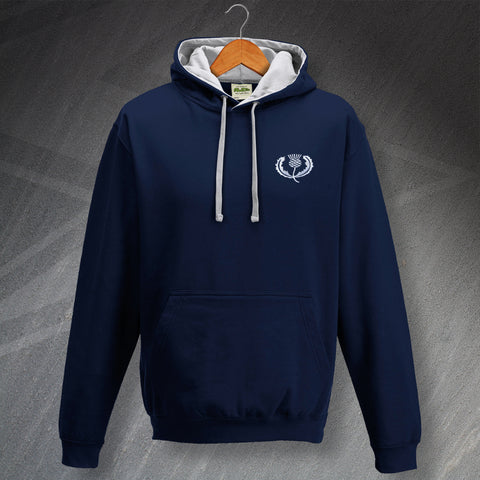 Retro Scotland Rugby Contrast Hoodie with Embroidered Badge