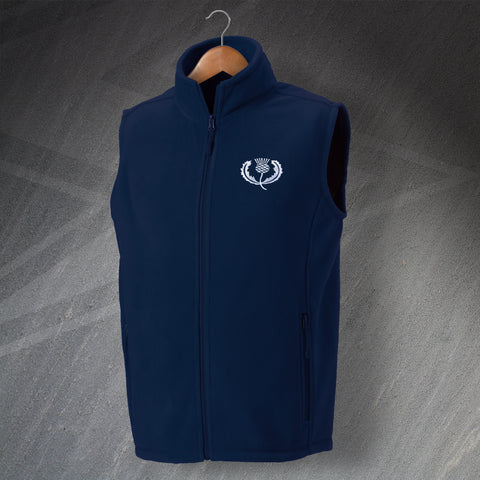 Retro Scotland Rugby Fleece Gilet with Embroidered Badge
