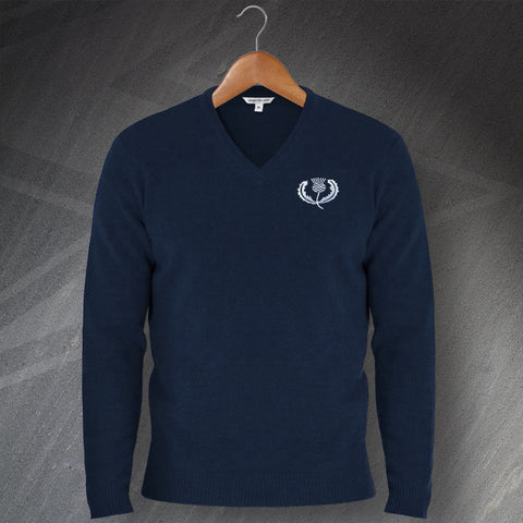 Retro Scotland Rugby Embroidered V-Neck Jumper