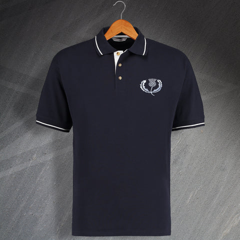Retro Scotland Embroidered Contrast Rugby Polo Shirt