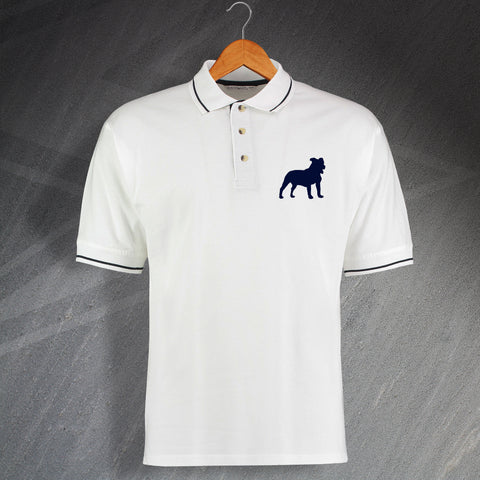 Staffordshire Bull Terrier Embroidered Contrast Polo Shirt