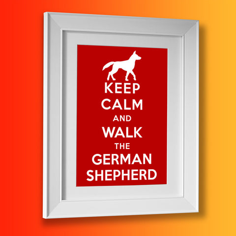 German Shepherd Picture Framed Print with Keep Calm Design