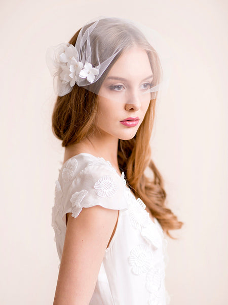 Bridal Tulle Blusher Veil with Hydrangea Blooms