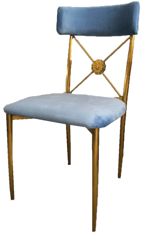 aspen chair, blue and gold velvet chair, gold and blue velvet dining chair, gold and blue velvet wedding ceremony chair