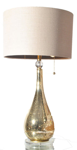 Gold Mercury Lamp w/ Lucite Base