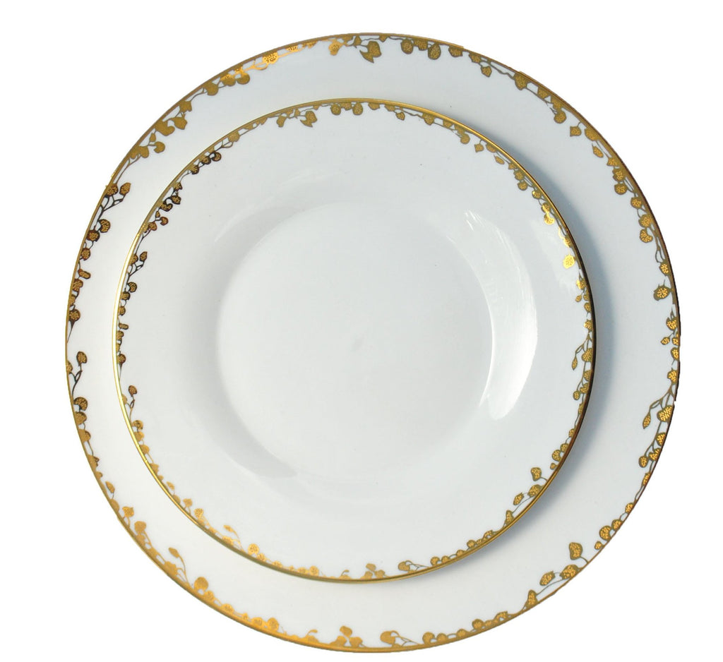 polished tabletop, polished, tabletop rentals, dishware, dishware rentals, plates, dishes, bowls, utensils, serving platters, china, gold accent, fleur collection