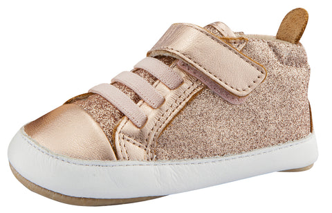 Old Soles Girl's Cheer Glam Flexible Rubber First Walker Sneakers, Glam Copper