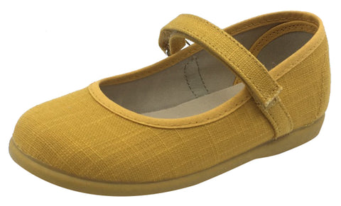ChildrenChic Girl's Hook and Loop Mary Jane, Mustard Canvas
