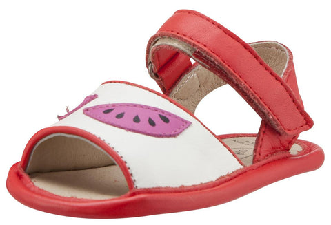 Old Soles Girl's 192 Trop Bambini Watermelon Smooth Bright Red and White Leather Peep-Toe Hook and Loop Sandals