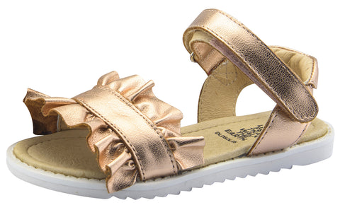 Old Soles Girl's I'm-Frilled Leather Sandals, Copper