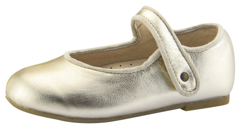 Old Soles Girl's Lady Jane Leather Mary Janes, Gold