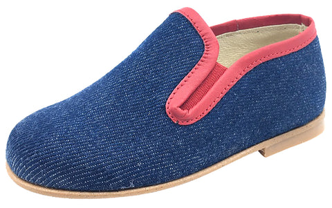 Luccini Boy's and Girl's Denim Blue with Red Trim Smoking Loafer