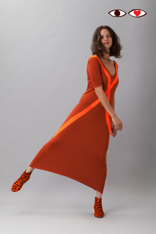 Sartoria Vico + Wait and See<br>Long dress glow - Orange