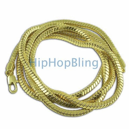4mm Square Snake 3D Gold Hip Hop Chain