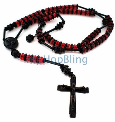 Raw Stone Red & Black Bling Bling Hip Hop Rosary Necklace