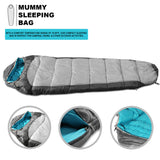 Sleeping Bag For Hiking Camping & Outdoor Activities Compression Bag Included Mummy - Grey