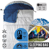 Sleeping Bag For Hiking Camping & Outdoor Activities - Compression Bag Included - Grey
