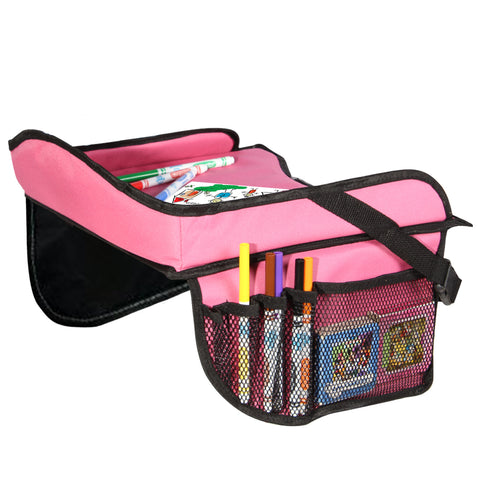 Toddler Car Seat Travel Tray with Storage Pocket Organizer - Hot Pink