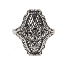 Art Deco 10K White Gold Diamond Filigree Ring