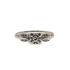 All In White- Art Deco 14K White Gold Diamond Ring                                                    ADR163