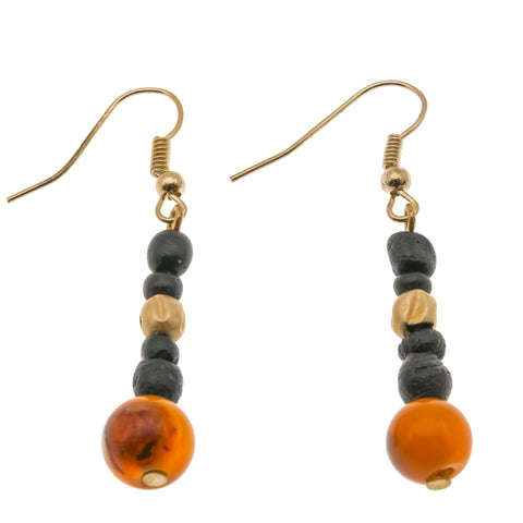 Ancient 100 A.D. - 300 A.D. Roman Gold , Glass & Carnelian Earrings