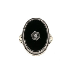 After Midnight - Art Deco 14K Onyx & Diamond Filigree Ring