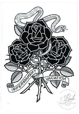 """Black Roses (Impermanent Vacation)"" by Mike Giant - Limited Edition, Archival Print - 13 x 19"