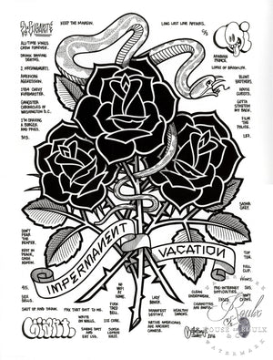 """Black Roses (Impermanent Vacation)"" by Mike Giant - Hand-Embellished Unique Print, #5/5 - 24 x 36"