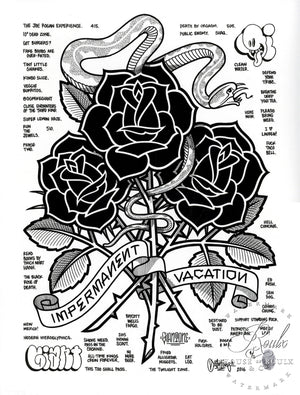 """Black Roses (Impermanent Vacation)"" by Mike Giant - Hand-Embellished Unique Print, #4/5 - 24 x 36"