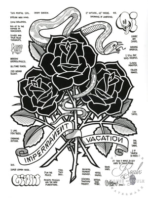 """Black Roses (Impermanent Vacation)"" by Mike Giant - Hand-Embellished Unique Print, #1/5 - 24 x 36"