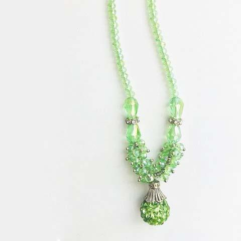 LONG GREEN BEADS JEWELS NECKLACE - tavoosfashion