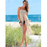Boho Summer Lace Beige Beach Cover Up Dress - Beige - tavoosfashion