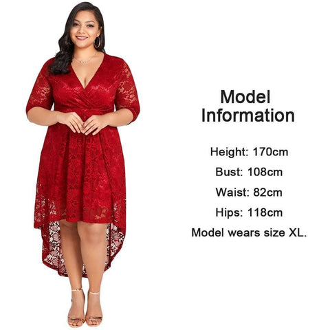 Plus Size Lace Cross Front High-Low Hem Dress - Hot Red - tavoosfashion