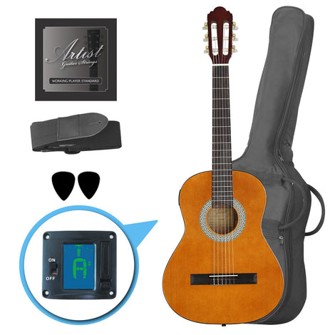 Customer Return Artist CL34AM 3/4 Size Classical Guitar Pack, Nylon String - Amber