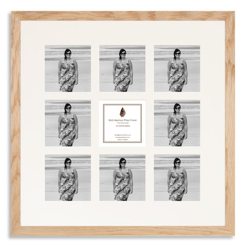 Image of a Solid Oak Photo Frame to hold nine 4x4inch photos