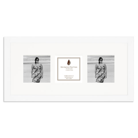Image of a Matt White photo frame which holds three 4x4inch photos