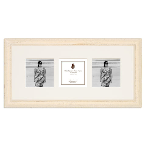 Image of a White Shabby Chic Photo Frame which holds three 4x4inch photos