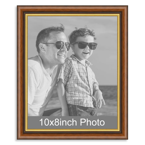 10 x 8inch Mahogany & Gold Wooden Photo Frame for a 10x8/8x10in image