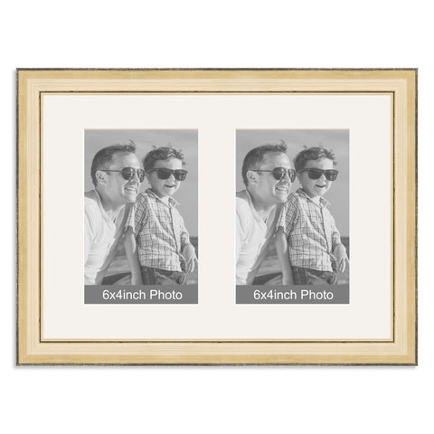 Gold Multi-Aperture Frame for two 6x4inch Photos