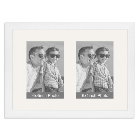 Matt White Multi-Aperture Frame for two 6x4inch Photos
