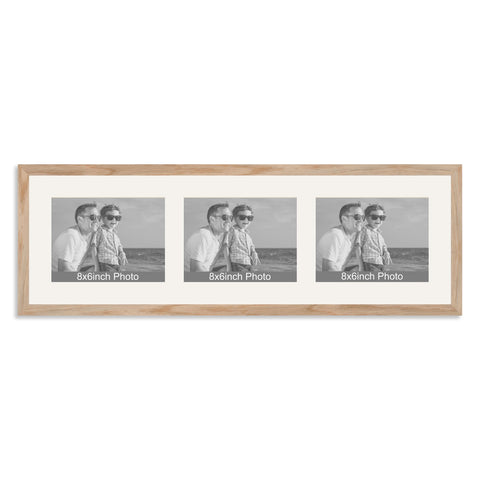 Solid Oak Multi-Aperture Frame for three 8x6/6x8in landscape Photos