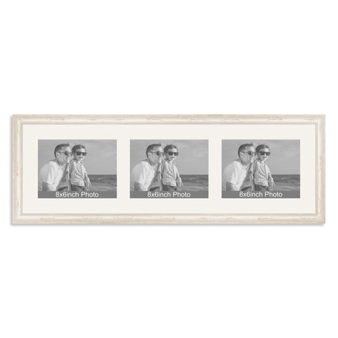 White Shabby Chic Multi-Aperture Frame for three 8x6/6x8in landscape Photos